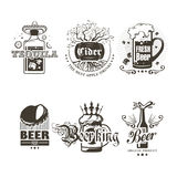 Set of logos of alcoholic beverages. Illustration Stock Photography