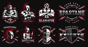 Set of badges with ancient warriors. Set of logos, badges with ancient warriors.  illustration with knight, spartan and gladiator. Perfect for fitness center Stock Image