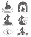 Set Logos and Badges Flamenco. Set of  logos, badges and silhouettes Flamenco. Collection emblems of traditional Spanish dance, signs school, clubs, shops and Stock Image