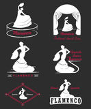 Set Logos and Badges Flamenco. Set of  logos, badges and silhouettes Flamenco. Collection emblems of traditional Spanish dance, signs school, clubs, shops and Royalty Free Stock Image