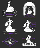 Set Logos and Badges Flamenco. Set of  logos, badges and silhouettes Flamenco. Collection emblems of traditional Spanish dance, signs school, clubs, shops and Royalty Free Stock Photo