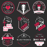 Set of  logos and badges music. Set of  badges and logos of rock music and rap classical music, electronic music and disco. The collection of symbols and emblems Stock Photography