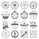 Set of logos and badges music. Set of badges and logos of rock music and rap classical music, electronic music and disco. The collection of symbols and emblems Vector Illustration
