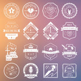 Set of logos and badges of music. Set of badges and logos of rock music and rap classical music, electronic music and disco. The collection of symbols and Stock Illustration