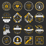 Set of logos and badges of music. Set of badges and logos of rock music and rap classical music, electronic music and disco. The collection of symbols and Royalty Free Illustration