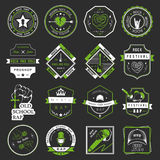 Set of logos and badges music. Set of badges and logos of rock music and rap classical music, electronic music and disco. The collection of symbols and emblems Royalty Free Illustration
