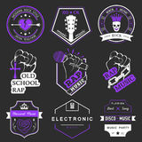 Set of logos and badges music. Set of badges and logos of rock music and rap classical music, electronic music and disco. The collection of symbols and emblems Stock Illustration