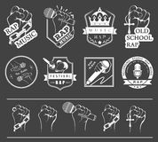 Set logos and Badges Rap Music Stock Images
