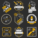 Set logos and Badges Rap Music. Set of  logos, badges and stickers Hip Hop and Rap music. Collection of emblems rap battle, rap club and rap festival. Rap logos Royalty Free Stock Images