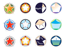 Set of logos on the basis of the star and circle  Stock Image