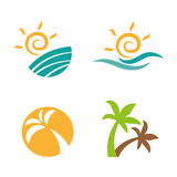 Set logos beach summer. Set logos beach on summer. Vector logos for companies Stock Photography