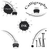 Set of logos for calligraphy Royalty Free Stock Images