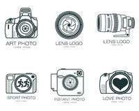 Set of logos with the camera. Lens, vector simple illustration isolated on a white background, logo design camera, a set of lenses and camera design for photo Stock Photo