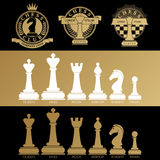 A set of logos with chess symbols Royalty Free Stock Photo