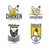 Set of logos with chicken Royalty Free Stock Photos