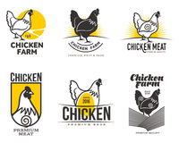 Set of logos with chicken Royalty Free Stock Photo