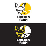 Set of logos with chicken Stock Image