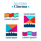 Set of logos for cinema, movie house.  EPS,JPG. Set of logos for cinema, movie house. Vector bannersfor cinema, theatres. Posters with cinema hall, films and Royalty Free Stock Images