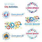 Set of logos city activities. Rest in a city, urban life. Entertainment in the city: concerts, dances, clubs, cafes, restaurants, water skiing, walk in a city Stock Images