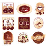Set of logos for coffee,  brown Stock Photos
