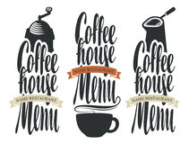 Set of logos for coffee house menu Stock Photography