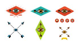 Set of logos for the company. Vector image isolated on white background. Logo of the eye and arrow. Different variants of arrows vector illustration