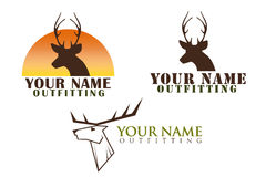Set of logos with deer illustration. Set of three logos isolated on white with a deer head. Easy to change words to your name Stock Image