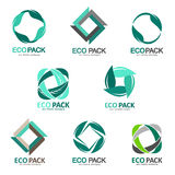 Set of logos eco-friendly packaging. Eco packing Royalty Free Stock Image
