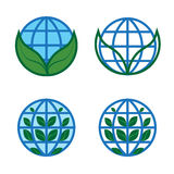 Set of logos of the ecological planet with leaves. Stock Photography