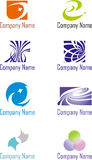 A set of logos. A set of eight logotypes in different colors Stock Image