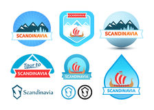 Set of Logos and Emblem for Travel to Scandinavia Stock Image