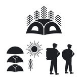 Set of logos or emblems for the campground. Stock Photos