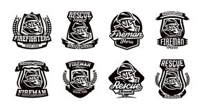 A set of logos, emblems, a fireman in a gas mask. A set of monochrome logos, emblems, a fireman in a gas mask. Rescue unit, fire brigade, shield. Vector Stock Photography