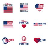 Set of logos or emblems Pray for Florida. Hurricane over Maiami. Vector illustration. royalty free illustration