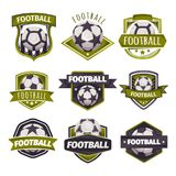 Set of logos, emblems on the theme of soccer, football Stock Images