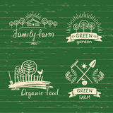 Set logos family farm.Logo organic food. Hand drawn element. For eco food. Ecology natural product. Sketch farm logo Stock Image