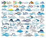 Set logos with fishes. A set of stylized logos with fishes royalty free illustration