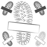 Set of logos with footprints of shoes. Isolated vector objects on white. EPS10 Royalty Free Stock Photos