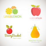 Set of logos for fruit organic company, fresh juice or cocktail bar. Colorful slices of pineapple, lemon, lime, grapefruit and str Stock Images