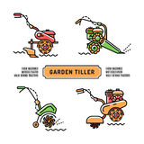 Set logos Garden Tiller thin line art style Agriculture machines Royalty Free Stock Photo