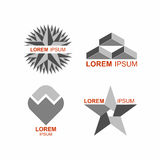 Set of logos in grey. Vector icons templates. Stock Photo