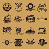 Set of logos for handmade shops. Tailor salon advertisement logotypes. Royalty Free Stock Photo