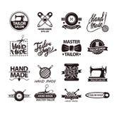 Set of logos for handmade shops. Tailor salon advertisement logotypes. Stock Photography