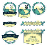 Set of logos, icons, nameplates for food. Natural, fresh quality. Products. Vector retro style Royalty Free Illustration