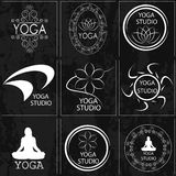 Set of logos, illustrations and icons on the theme of yoga.  Royalty Free Stock Photo