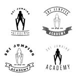 Set of logos with jumping skier silhouette. Winter Sport logotyp Stock Photography