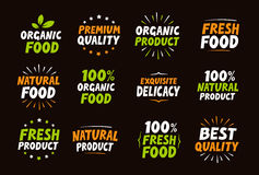 Set of logos, labels, stamps, icons for natural product, organic food, farm Royalty Free Stock Images