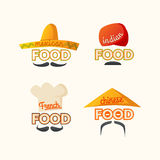 Set of logos Mexican, Chinese, Indian, French cuisine. Royalty Free Stock Photo