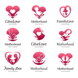 Set of logos of motherhood, baby care, family love, pregnancy, childbearing Royalty Free Stock Images