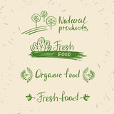 Set logos natural products. Design elements for summer menu  res Royalty Free Stock Photography
